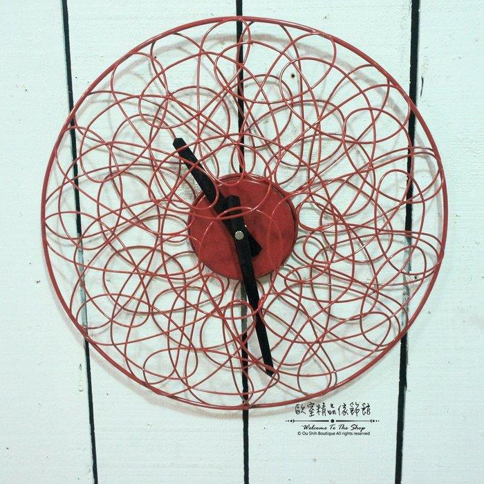 ~*歐室精品傢飾館*~新時尚 現代 簡約 鐵製 設計 紅色 圓形 鳥巢 造型 壁飾 時鐘 掛鐘 居家 民宿~新款上市~