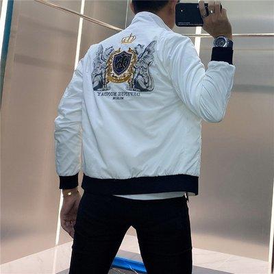 MKTO歐洲站2021秋季新款個性時尚網紅修身男士外套潮牌徽章刺繡夾克男
