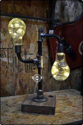工業風燈泡造型水管檯燈 LOFT 復古...