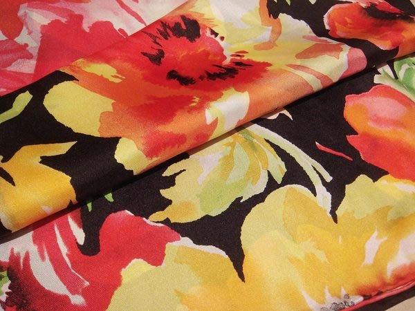 大降價!美國名牌 Ralph Lauren 黑底多彩花朵100%純絲絲巾大方巾圍巾,低價起標無底價!本商品免運費!