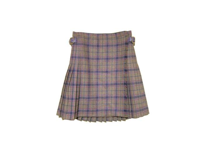 My Closet 二手名牌 Christian Dior 粉紫色系格紋 皮扣環 毛料百褶裙