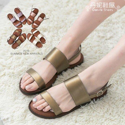 涼鞋 百搭簡約一字寬帶 赤牛皮 真皮涼鞋 4色 MIT 台灣手工鞋 丹妮鞋屋