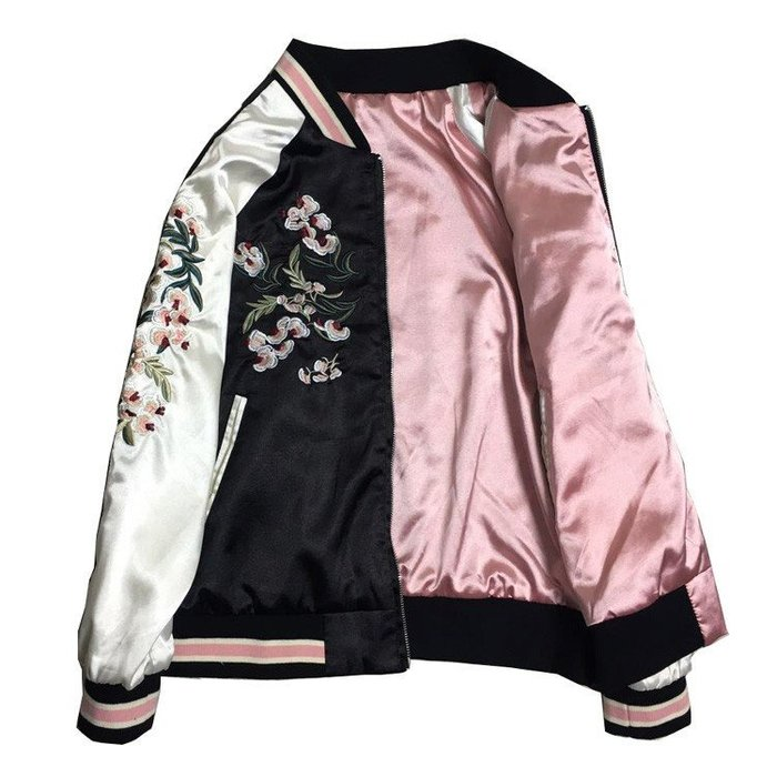 橫須賀立體刺繡兩面穿夾克女花朵粉黑長袖綢緞棒球服情侶春秋外套