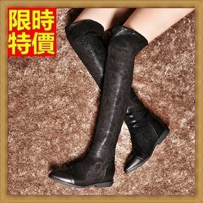 長靴 過膝女靴子-時尚俏麗舒適平跟內增高彈力真皮女馬靴71ab32[獨家進口][米蘭精品]