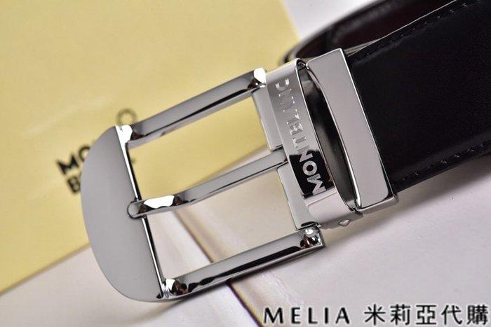 Melia 米莉亞代購 美國精品代購 Montblanc 萬寶龍 皮帶 腰帶 弧型平頭扣 銀色 純鏡面打磨 包裝齊全