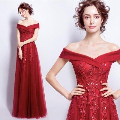 婚紗禮服 歐美風大氣紅色蕾絲婚紗 一字肩新娘結婚敬酒服 跨境專供婚禮禮服