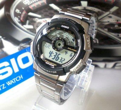 CASIO卡西歐手錶 經緯度鐘錶 百米防水 仿飛機儀表板 LCD模擬指針【↘ 960】公司貨 AE-1100WD