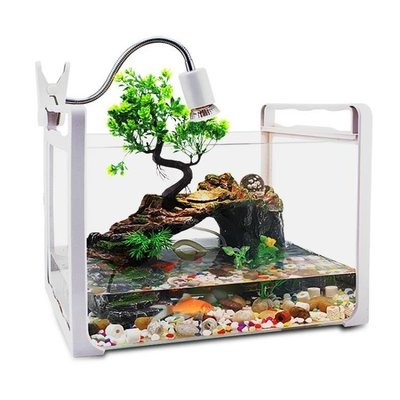 哆啦本鋪 水陸玻璃大號中型小型魚缸龜缸專用帶曬臺別墅烏龜缸飼養缸巴西龜D655