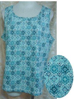 ~麗麗ㄉ大碼舖~大尺寸8 10 38吋 綠色印花無袖彈性背心上衣~加大碼~