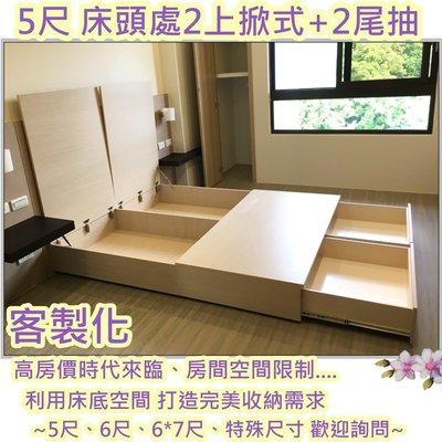 *《翰伸傢俱工作坊》專營客製化 【5尺上掀式+大2抽屜】環保材質6分木芯板 配合裝潢木紋色 床箱/床架/收納 6尺可訂製