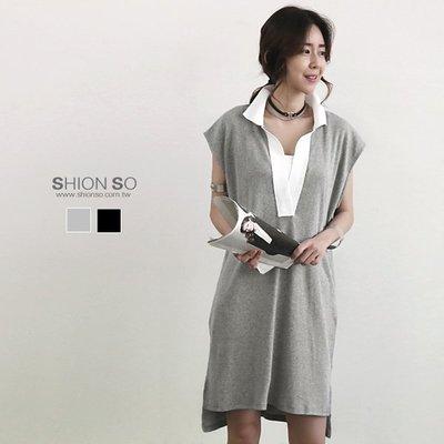 享瘦衣身中大尺碼【B1142】襯衫式短袖長版上衣&洋裝
