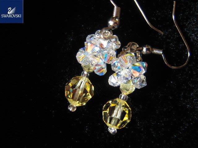 ※水晶玫瑰※ SWAROVSKI 地球珠水晶 耳勾式耳環(DD385)