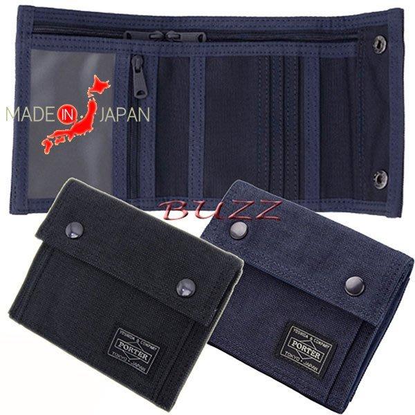 巴斯 日標 PORTER屋-黑色 藍色現貨 PORTER SMOKY 橫型皮夾-短夾 592-06332