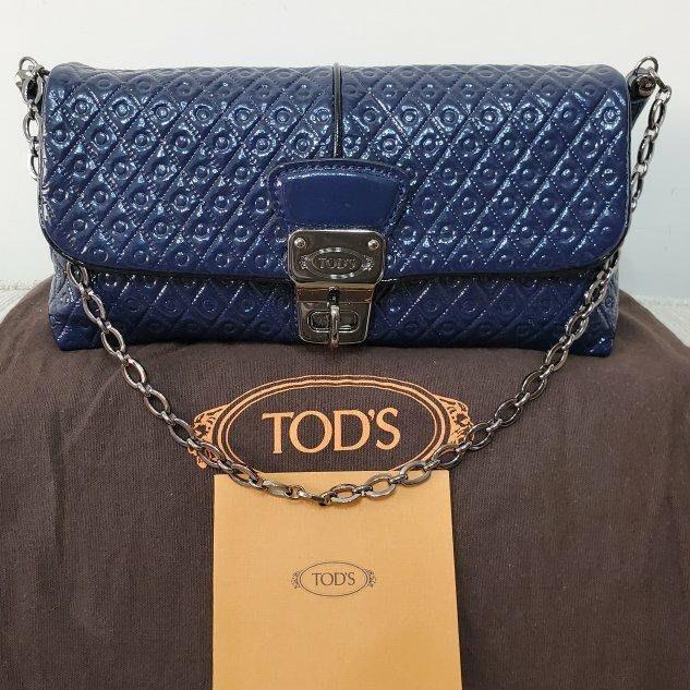 TODS signature 深藍漆亮皮革 肩背/手提/手拿包