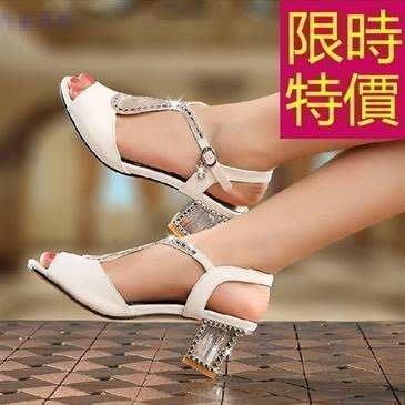 涼鞋水鑽高跟-高檔清新夏季休閒女鞋子3色55l48[韓國進口][米蘭精品]