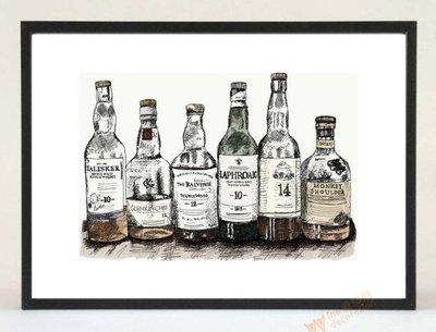 小6裝飾#威士忌北歐風裝飾/佈置飾品畫 酒吧餐廳客廳會所洋酒掛畫壁畫 Whisky