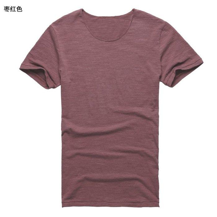 『潮男衣舍』9月新品 2019夏裝新款 彈力質感竹節棉半袖T恤 散邊領男裝修身短袖T恤T347