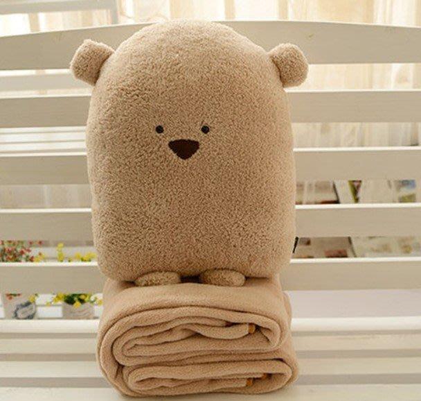可愛卡卡鼠卡通方熊熊大空調毯抱枕被子三用靠墊暖手捂生日禮物 暖手40*35CM毯子1.7*1M 大號