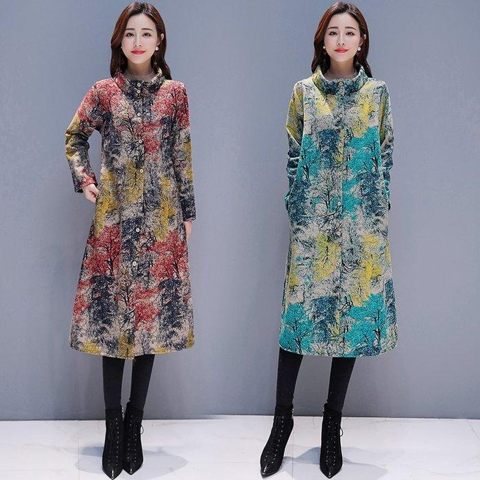 名族風 漢服 棉麻 旗袍 刺繡冬季民族風花色中長款棉麻加絨加厚保暖立領外套女棉衣