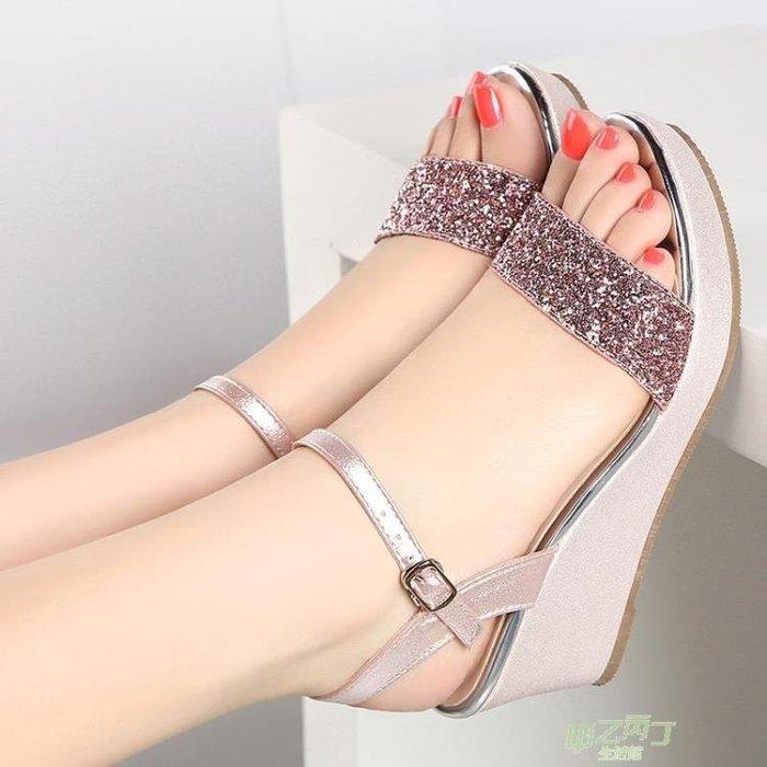 交換禮物 涼鞋女夏季新品厚底楔形皮質厚底中跟鬆糕平底正韓百搭女鞋