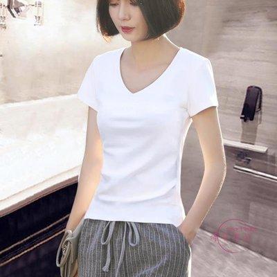 哆啦本鋪 夏裝新品白色短袖T恤女韓范V領正韓夏天衣服修身百搭上衣 D655