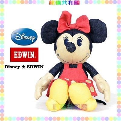 ※龍貓共和國※日本迪士尼DISNEY《限量款EDWIN米妮Minnie 復古牛仔 娃娃 玩偶 布偶21公分》禮物