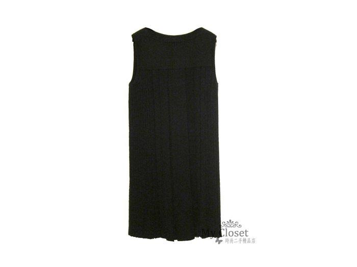 My Closet 二手名牌 Hermes 全新超美版型 黑色100% Cashmere 無袖針織洋裝