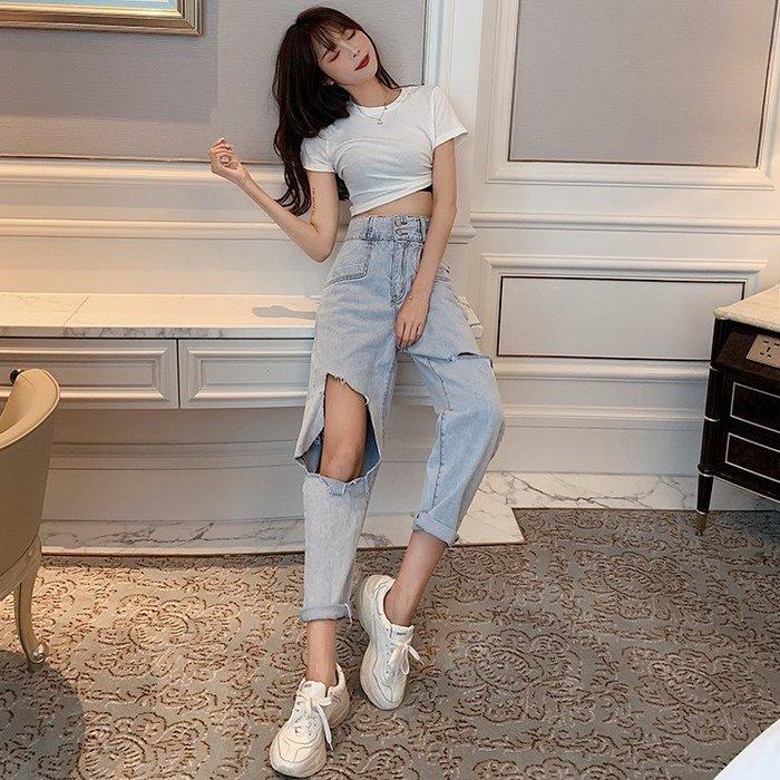 牛仔褲 2019夏季新款chic風高腰破洞褲子九分褲寬鬆哈倫褲顯瘦牛仔褲女裝