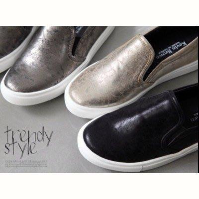 正韓製造 復古金色裂紋皮革便鞋 懶人鞋 便鞋【04043】♥tutti.moda♥