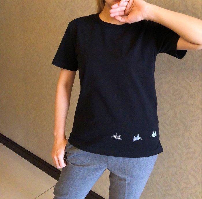 日本卡拉貓~繡線酷酷貓抗菌棉T上衣
