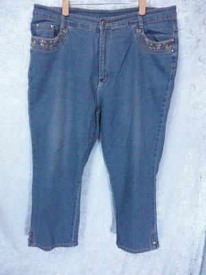 SHY GER~繡花設計牛仔褲~SIZE:5L(大尺碼)~99元起標