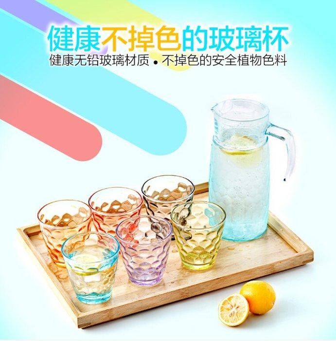啤酒杯彩色耐熱水杯玻璃杯子套裝透明玻璃杯