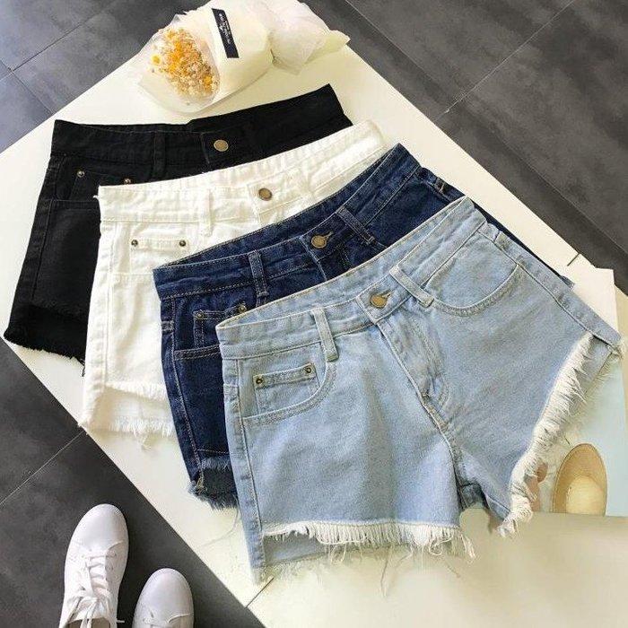 新款韓版寬鬆學生百搭chic白色闊腿顯瘦高腰牛仔熱褲