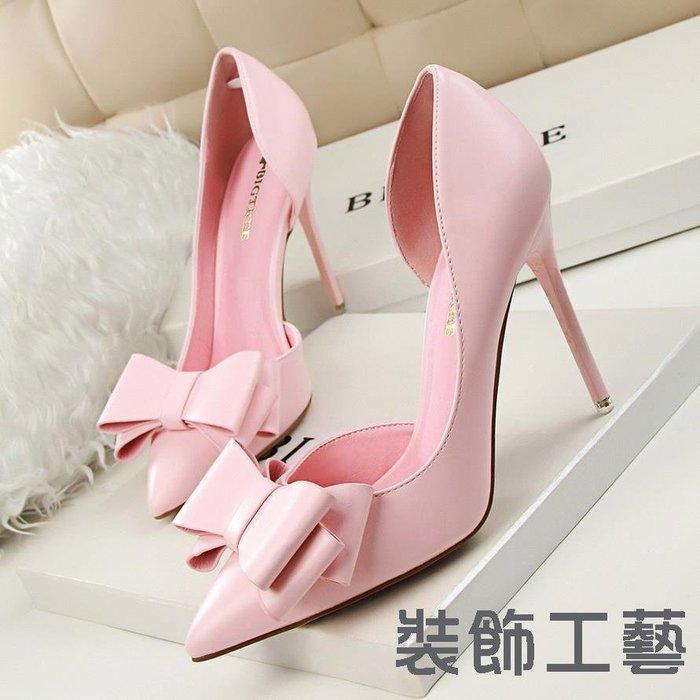 3168-2韓版時尚秀氣甜美蝴蝶結高跟鞋細跟高跟淺口尖頭側鏤空單鞋