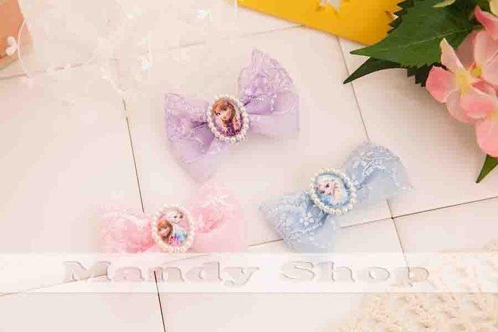 mandyshop【M2721】㊣ Disney 迪士尼FROZEN冰雪奇緣珍珠蕾絲造型髮夾