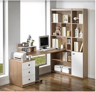 【名品家具】電腦桌 台式家用學生 書桌 轉角電腦桌+書櫃+書架組合 m免運