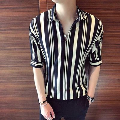 夏季男士短袖T恤韓版修身五分袖夏裝七分...