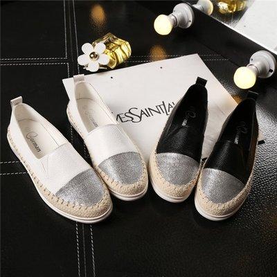 Fashion 明星同款樂福鞋平底休閒漁夫鞋 大碼女鞋厚底單鞋小白鞋 懶人鞋34-43碼