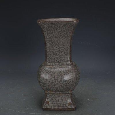 ㊣姥姥的寶藏㊣ 南宋官窯米黃冰裂釉四方花觚瓶  出土古瓷器古玩古董收藏擺件
