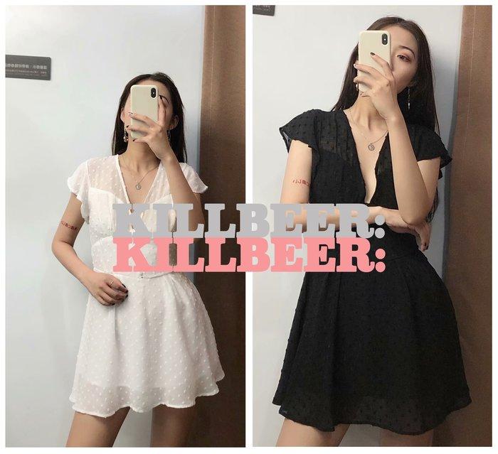 KillBeer:仙女是怎樣煉成的之 歐美復古飄逸性感V領低胸排扣飛飛袖立體水玉點點洋裝式連身褲裙061709