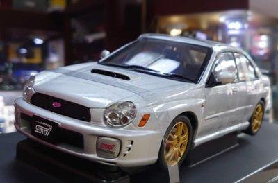 Autoart 1/18。Subaru New Age Impreza WRX STI。銀頂四門。原盒