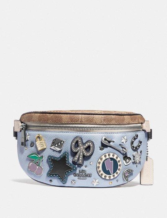 Coco小舖COACH 78003 Belt Bag With Signature Canvas 水藍色紀念章腰包