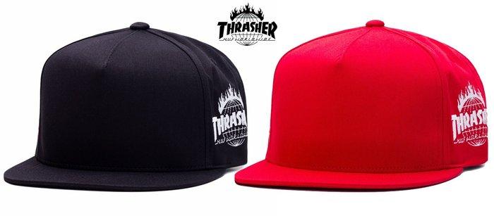 【超搶手】 全新正品 美牌 聯名 HUF x THRASHER TDS SNAPBACK CAP 火焰 棒球帽 黑色 紅