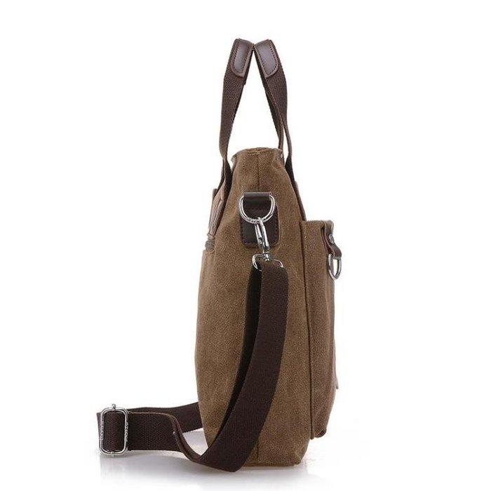 新品上市-男士新款商務手提包豎款帆布單肩包潮流男包包韓版休閒斜挎包-柳風向