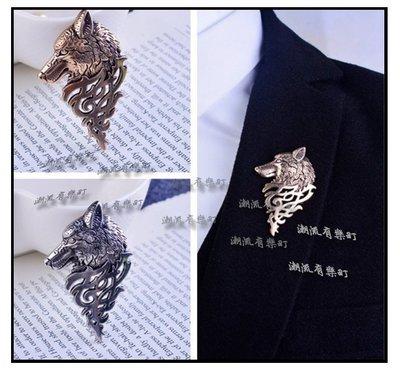 街頭潮流 型男必備 歐美 中世紀風格 狼型 狼頭 灰狼 酷帥霸氣 精緻 徽章胸針胸章領針領扣  西裝外套襯衫帽子背包裝飾