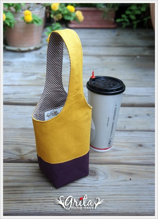 ♥grita's handmade♥手作環保飲料提袋/手搖杯/環保杯袋/隨身提包/帆布包—芥末黃+深紫雙色(有現貨)