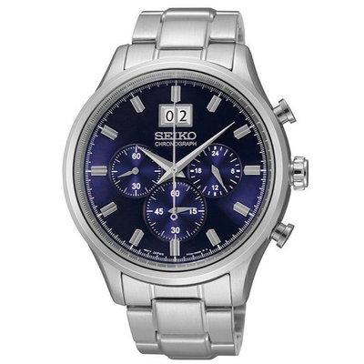 現貨 可自取 SEIKO SPC081P1 精工錶 42mm 三眼計時 藍面盤 大日期視窗 鋼錶帶 男錶女錶