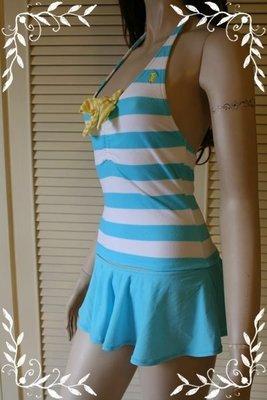 JUICY COUTURE RUGBY-STRIPED RIBBON TERRY藍白條紋毛巾布繫頸短裙兩件式泳衣