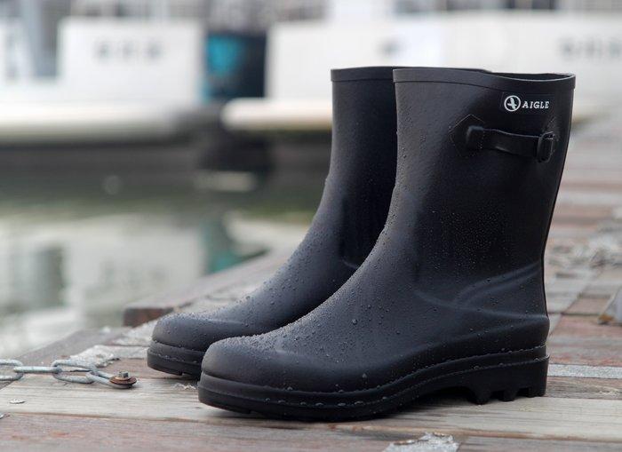 INDiCE ↗ AIGLE Icare 經典手工男性短筒雨靴 時尚黑 法國製