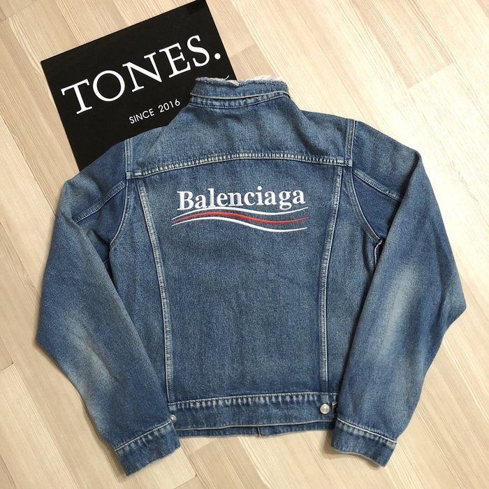 【TONES.】Balenciaga 18SS 可樂Logo 落肩牛仔外套 丹寧 夾克